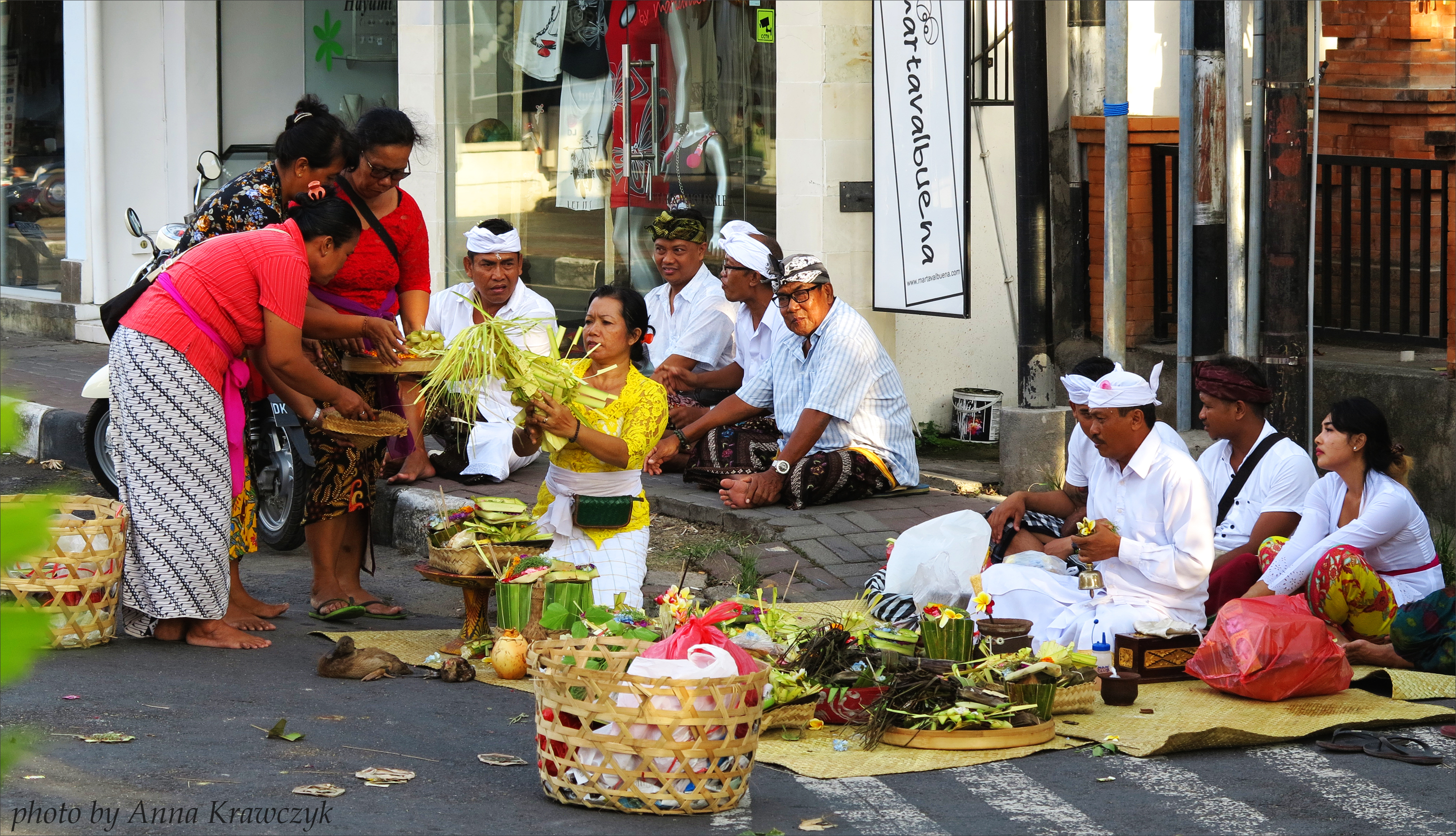 Ceremony on a street (in the middle of Crossroad) in Sanur, Bali