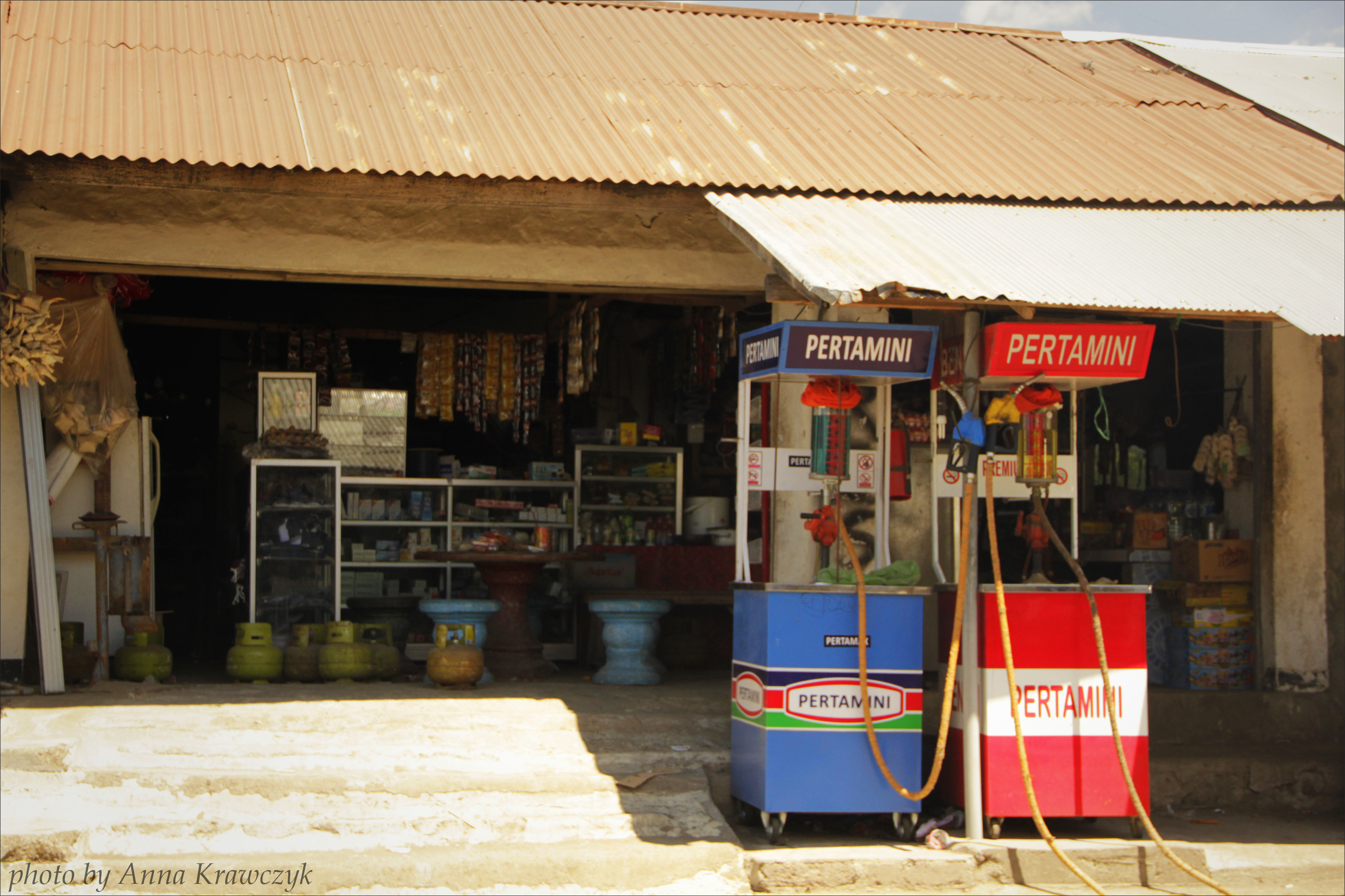 Gas station and shop, just some village..
